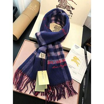 BURBERRY High Quality Classic Fashion Women Men Plaid Tassel Cashmere Scarf Shawl Accessories Blue