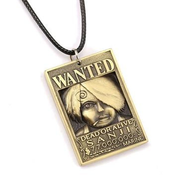 One Piece Wanted Poster Sanji Metal Alloy Necklace