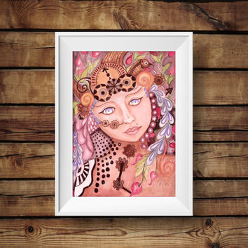 Steam punk themed woman art,  watercolor WALL DECOR, steam punk watercolor wall decor prints, wall decor print, print from original artwork