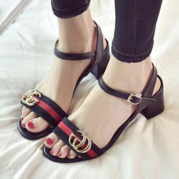 Gucci Fashion Red Army Green Stripe Summer Women Open-Toed Contracted Heel-Strap Sandals Black-4