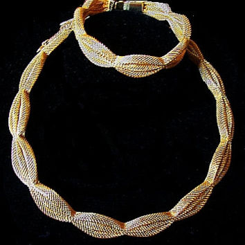 Designer Necklace Bracelet Demi Set Signed FRANCIOIS by CORO Gold Mesh Metal Design Big Bold Vintage