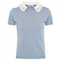 Laser cut collar fine knit top