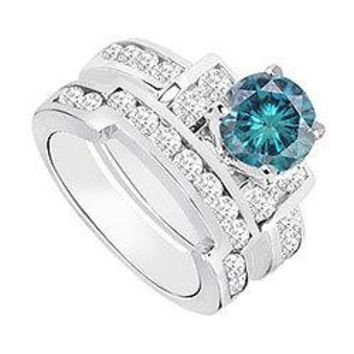 Blue & White Diamond Engagement Ring with Wedding Band Sets 14K White Gold  1.20 CT TDW