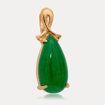14K Gold over 925 Silver Pendant with Green Jade