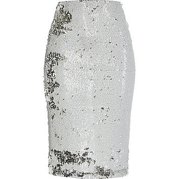 White metallic woven pencil skirt