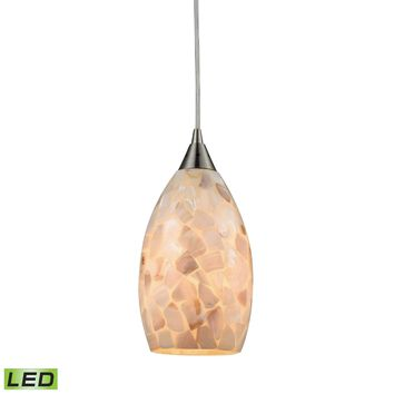 Capri 1 Light LED Pendant In Satin Nickel And Capiz Shell
