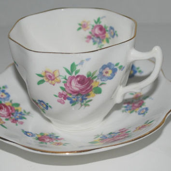 Rosina  cup and saucer      floral china