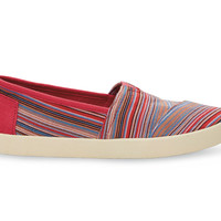 TOMS Raspberry Stripe Woven Women's Avalon Sneaker Red