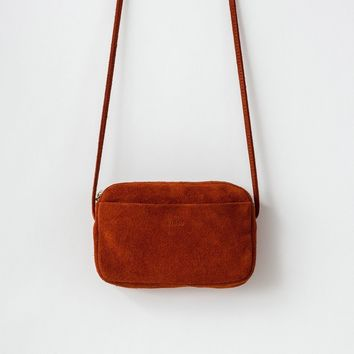 BAGGU Leather Mini Purse Rust Suede