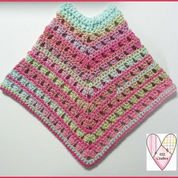 Hand Crocheted Poncho for 4 to 6 Year Old