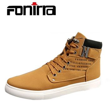 Retro Style Men's Casual Shoes Spring Autumn Vintage Low Boots Lace Up High Top Men Shoes Size 38-47 180