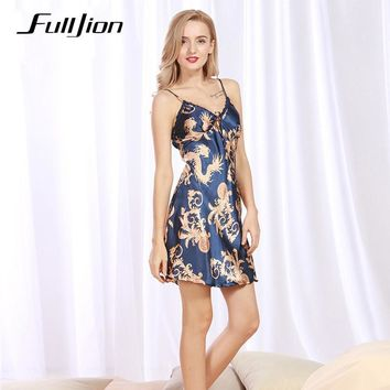 Fulljion Ladies Sexy Silk Satin Night Dress Sleeveless Nighties V-neck Nightgown casual Nightdress Lace Women Sleepwear Pijamas