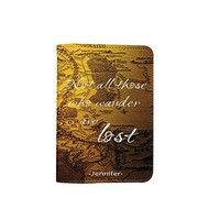 Travel Inspiration World Map [Name customized] Leather Passport Holder/Cover Travel Wallet_SCORPIOshop