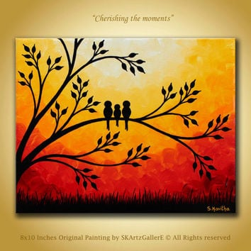 Family birds Artwork, Original Painting 8x10 canvas Wall art, Contemporary bird art, Modern sunset painting birds on tree art orange artwork