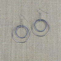 Rhodium Overlay Double Hoop Earrings