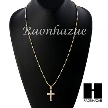 Iced Out Sterling Silver .925 AAA Lab Diamond Jesus Cross w/ 2.5mm Moon Chain 22
