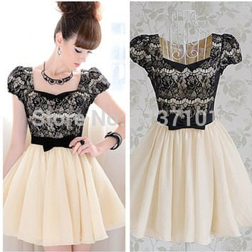 2016 New Arrival Fashion Lady Cute Pleated Dress with Lace Square Neck Slim Bow Puff Short Sleeve Women Cute Prom Dresses
