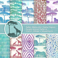 Watercolor Safari Digital Paper, Printable Jungle Animal Backgrounds, Safari Animal Watercolor Papers, African Wild Animal Digital Papers