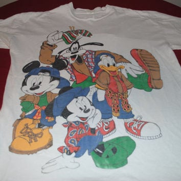90's Hip Hop Disney Characters 2 Sided T-Shirt