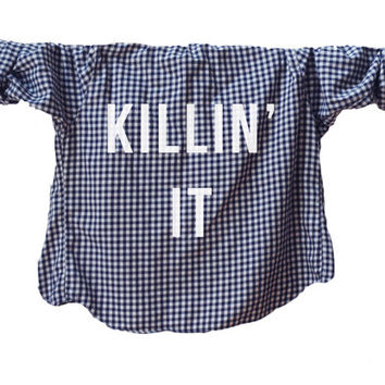 Killin' It - Punk, Angsty, Funny, Humor Unisex Shirt, Font Printed Flannel (Colors may vary, All Sizes Available!)