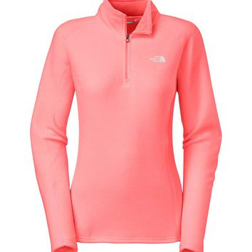 The North Face Glacier Quarter Zip Fleece Pullover for Women in Neon Peach A7YP-EEG