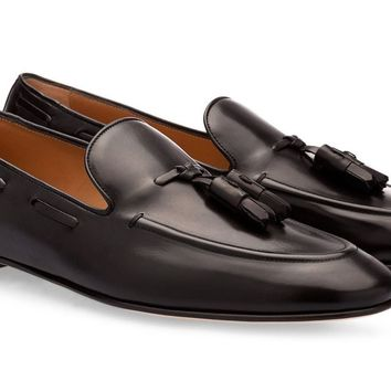 Black Leather Flat Tassel Loafers