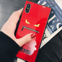 Fendi popular logo square glass shell iphoneX mobile phone shell small monster iphone7plus mobile phone shell 8p