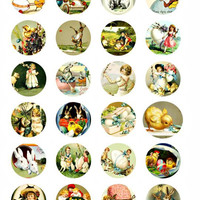 easter rabbit bunny baby chicks clip art collage sheet 1.5 inch circles graphics vintage postcard images digital download craft printables