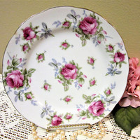 Plate Lefton China Bread Salad Dessert Decorative Pink Roses Porcelain blm