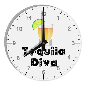 "Tequila Diva - Cinco de Mayo Design 8"" Round Wall Clock with Numbers by TooLoud"