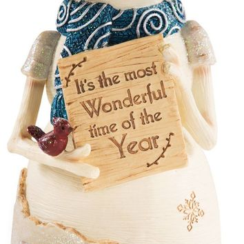 It's the most wonderful time of the year Snowman Holding Sign Figurine