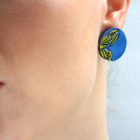 Blue Butterflies Stud Earrings - Yellow Butterfly Wing Earrings - Lightweight Wooden Jewelry