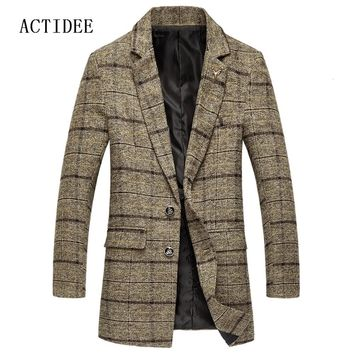 2017 New Men's Wool Jackets Men Woolen Coats Middle Long Plaid Jackets And Coats Mens Warm Wool Overcoat Plus Size 5XL 3XL 4XL