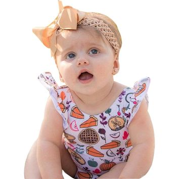 Newborn Infant Baby Girl Fall Thanksgiving O-Neck Short Sleeve Romper Sunsuits Clothes Outfits Cotton Cute Print Romper For Baby