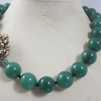 Jade Green Gemstone Necklace, Hand Knotted Green Agate Beads, Gold Flower Clasp, Gemstone Beaded Jewelry