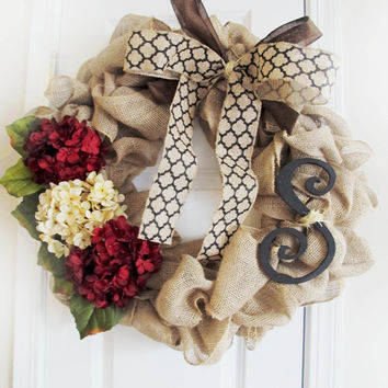 Holiday Monogram Wreath, Fall Burlap Wreath, Holiday Decor, Christmas Decor, Fall Monogram, Red Hydrangeas, Hydrangeas, Christmas Entryway