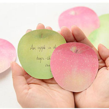 2D Fresh Fruit Memo kawaii Green Apple sticky Memos Red Apples Paper Post Note Pad School stationery Cute memo Special designed funny Gift