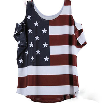 Size 5 XL Fashion American flag print star red stripe round neck shoulder open tee top T-shirt
