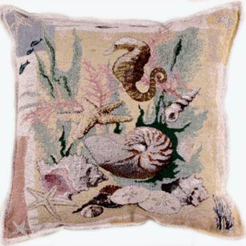 Seashell And Seahorse Throw Pillow - One Side Design