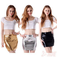 Sexy Women Shiny Metallic Wet Liquid Latex GoGo Club Mini Skirt Bodycon Bandage