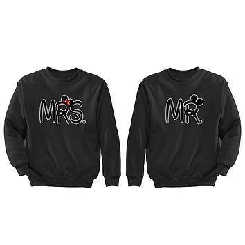 XtraFly Apparel Mr Mrs Ears Valentine's Matching Couples Pullover Crewneck-Sweatshirt