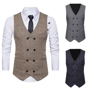 Mens Formal Tweed Check Double Breasted Waistcoat Retro Slim Fit Suit Jacket