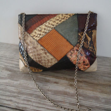 Snake Skin Leather Patchwork Artsy Bag Original By Caprice 1960 Vintage