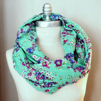 Infinity Scarf, Circle Scarf, Tiny Floral Print Fabric, Emerald Green with Pink Flowers, Loop Scarf, Mobius Scarf