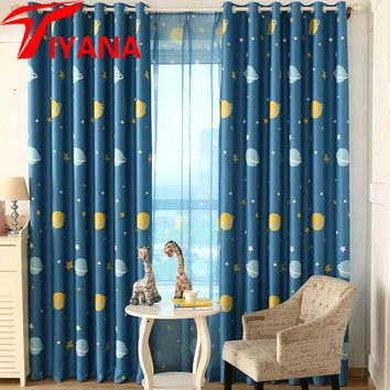 Blue Planet / Star Wars Cartoon Shade Curtains For Baby Boy Kids Bedroom Living Room Window Curtain Home Decor Cortina P355Z20