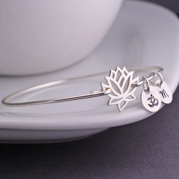Lotus Flower Jewelry, Personalized Sterling Silver Bangle Bracelet, Lotus Bracelet, Yoga Bracelet, Silver Bangle