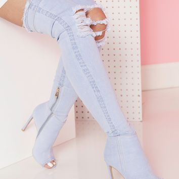 STASSI DENIM THIGH HIGH BOOT - LIGHT DENIM