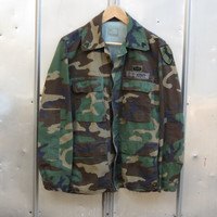 U.S. Army Hot Weather BDU Jacket Woodland Combat Camouflage Coat 1983 Small