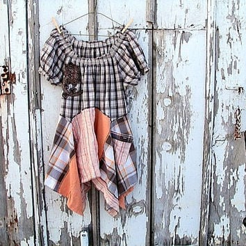 upcycled lagenlook tunic earthy neutral brown plaid peach colored artsy bohemian peasant refashioned eco clothing large/x-large