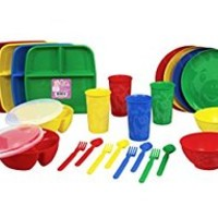 Kidish 32 Piece Kid's Zoo Animal Plastic Dinnerware Set